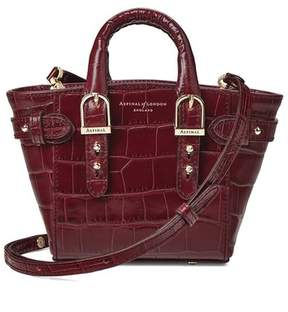 Aspinal of London Micro Marylebone Tote In Deep Shine Bordeaux Croc