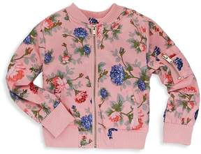 Urban Republic Baby Girl's Poly-Sateen Rose Floral Baseball Jacket