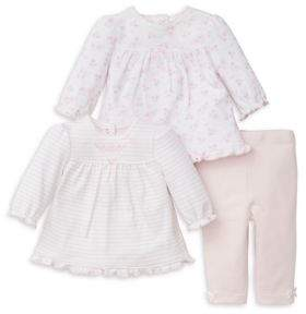 Little Me Baby Girl's Three-Piece Pleated Long-Sleeve Cotton Top and Pants Set