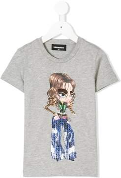 DSQUARED2 textured girl print T-shirt