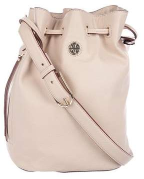 Tory Burch Grained Leather Logo Bucket Bag