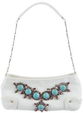 Dolce & Gabbana Crystal-Embellished Leather Evening Bag - WHITE - STYLE