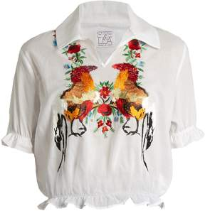 Stella Jean Short-sleeved embroidered-cotton top