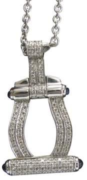 Charriol Philippe 18K White Gold 0.62ct Diamond & 0.38ct Sapphire Pendant Necklace