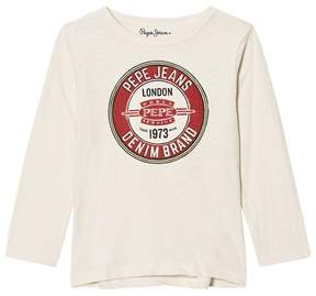 Pepe Jeans Cream Logo Long Sleeve Tee