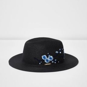 River Island Womens Black floral embroidered straw hat