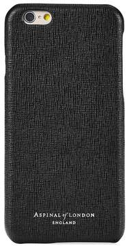 Aspinal of London Iphone 6 Plus Leather Cover In Black Saffiano Black Suede