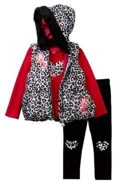 Betsey Johnson Heart Tee, Faux Fur Hooded Puffy Vest & Legging Set (Baby Girls)