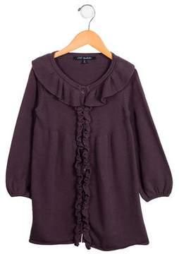 Lili Gaufrette Girls' Ruffle-Accented Knit Cardigan