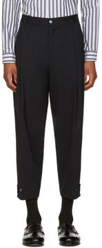 Dolce & Gabbana Navy Pleated Trousers