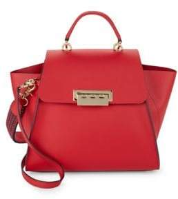 Zac Posen Eartha Leather Contrast Piping Shoulder Bag