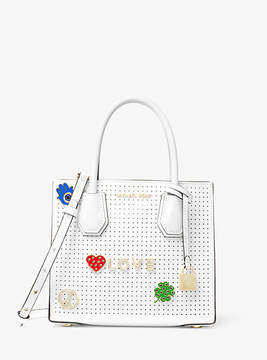 Michael Kors Mercer Love Perforated Leather Crossbody - WHITE - STYLE