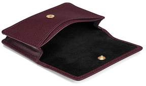 Aspinal of London | Business Credit Card Case In Burgundy Saffiano Black Suede | Burgundy saffiano black suede
