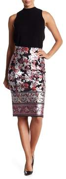 ECI Shiny Floral Pencil Skirt
