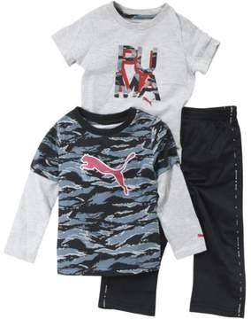 Puma Infant Boy's Colorblock Slider Black 3-Piece Shirt & Pant Set Sz: 24M