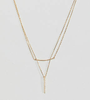 Designb London Gold Plated Sterling Silver Cz Bar Multi-Row Necklace