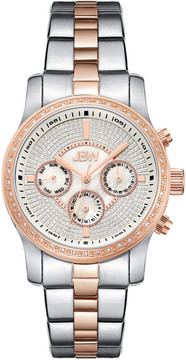 JBW Vixen Mother of Pearl Crystal Dial Two-tone Rose Gold-tone Bracelet Diamond Bezel Ladies Watch
