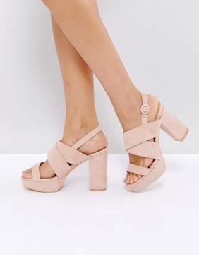Public Desire Rhythm Blush Platform Heeled Sandals