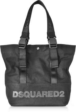 DSQUARED2 Black Canvas Vertical Shopping Bag w/Funny Handles