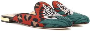 Charlotte Olympia Animal Kingdom embroidered slippers