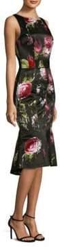 David Meister Printed Sleeveless Midi Dress