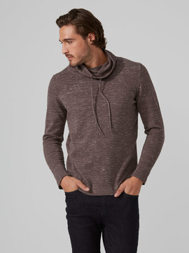 Frank and Oak Funnel Neck Cotton Sweater in Taupe Melange
