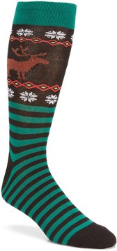 Hot Sox Reindeer Non-Skid Crew Socks