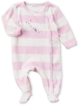 Absorba Newborn Girls) Striped Birdie Footie