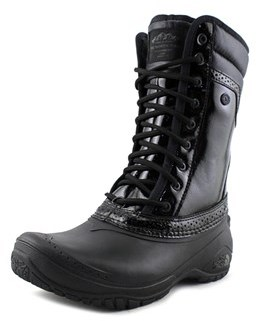 The North Face Shellista Ii Mid Luxe Women Round Toe Leather Black Winter Boot.
