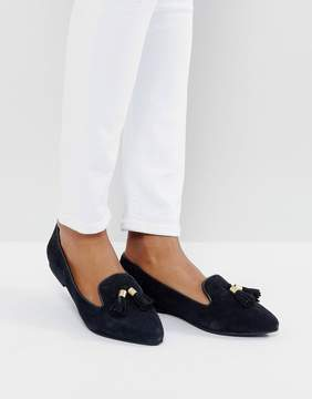 Park Lane Suede Tassle Point Flat Shoes