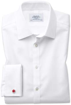 Charles Tyrwhitt Classic Fit Non-Iron Square Weave White Cotton Dress Shirt Single Cuff Size 16/34