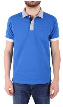 Sun 68 Men's Light Blue Cotton Polo Shirt.