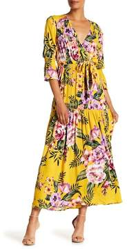 ECI Elbow Sleeve Floral Print Maxi Dress