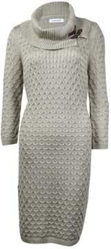 Calvin Klein Women's Cowl Neckline Textured Sheath Sweater Dress (XL, Khaki)