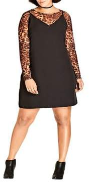 City Chic Plus Long Sleeve Leopard Overlay Dress