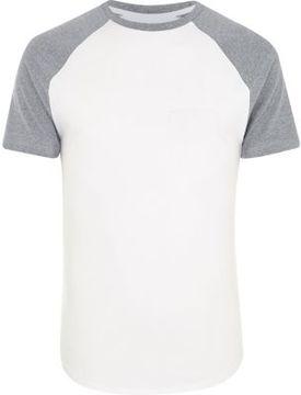 River Island Mens White muscle fit raglan T-shirt