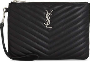 Saint Laurent Quilted monogram leather pouch - BLACK - STYLE