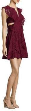 BCBGMAXAZRIA Flutter Sleeve Cutout Lace Dress