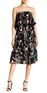 Angie Strapless Floral Midi Dres