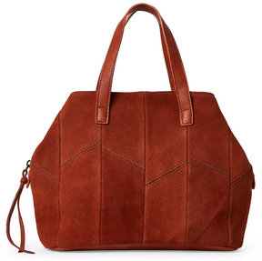 Street Level Brown Real Suede Front Satchel