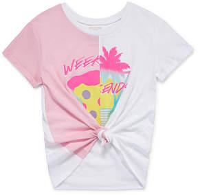 Arizona Short Sleeve Split Graphic Tie Front Tee - Girls' 4-16 & Plus