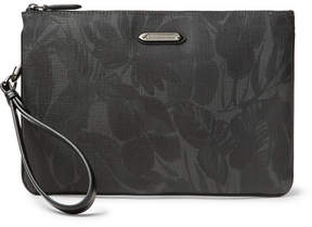 Ermenegildo Zegna Leather-Trimmed Printed Coated-Canvas Pouch