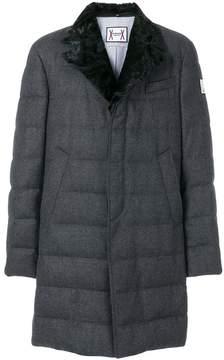 Moncler Gamme Bleu fox fur collar padded trench coat