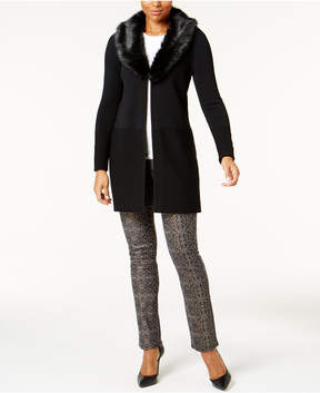 Charter Club Faux-Fur-Collar Long Cardigan, Created for Macy's