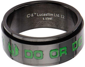 Star Wars FINE JEWELRY Mens Black Stainless Steel Yoda Spinner Band