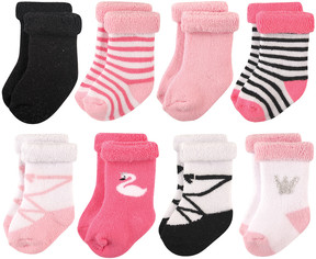 Hudson Baby Pink & White Swan Roll-Cuff Eight-Pair Socks Set - Infant