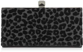 Jimmy Choo CELESTE/S Black Devore Leopard Fabric Clutch Bag with Cube Clasp