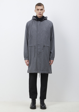 TOMORROWLAND Grey Hooded Wool Melton Parka