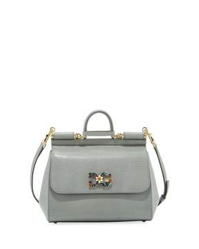 Dolce & Gabbana Miss Sicily Medium Stamped Leather Satchel Bag - GRAY - STYLE