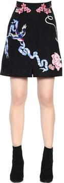 Temperley London Tattoos Hand-Embroidered Poplin Skirt